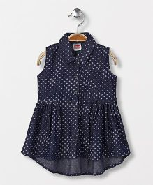 Babyhug Sleeveless Denim Printed Frock - Dark Blue
