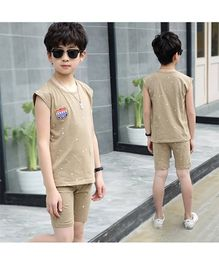 Pre Order - Awabox Sporting Spirit Simple Sleeveless Night Suit - Brown