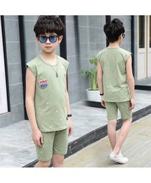 Pre Order - Awabox Sporting Spirit Simple Sleeveless Night Suit - Green