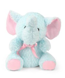 IR Sitting Elephant Soft Toy Blue Pink - Height 24 cm