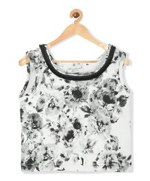 Marshmallow Kids Couture Floral Printed Top - Black & White