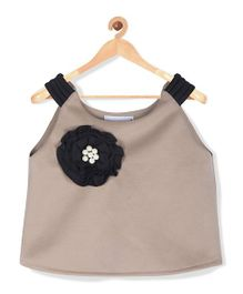 Marshmallow Kids Couture Frilled Flower Applique Top - Beige