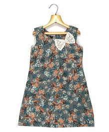 Marshmallow Kids Couture Printed Dress With Bow Applique - Grey