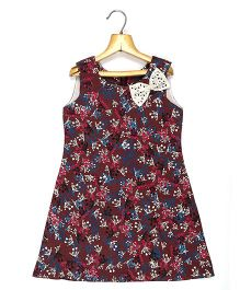 Marshmallow Kids Couture Printed Dress With Bow Applique - Maroon