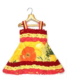 Marshmallow Kids Couture Frilled Multicolor Strap Dress - Yellow