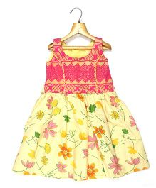 Marshmallow Kids Couture Floral Printed And Net Torso Dress - Yellow