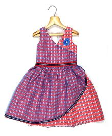 Marshmallow Kids Couture Printed And Net Layered Dress - Blue & Orange