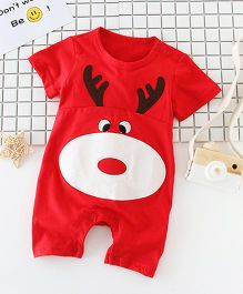 Pre Order - Superfie Cute Monkey Printed Romper - Red
