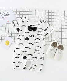 Pre Order - Superfie Moustache Printed Romper With Bow - White & Black