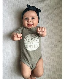 Pre Order - Superfie Hello I'M New Here Printed Onesie - Grey
