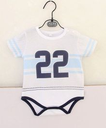 Pre Order - Superfie Sporty Number 22 Printed Onesie - White & Blue