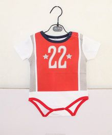 Pre Order - Superfie Sporty Number 22 Printed Romper - Red & White