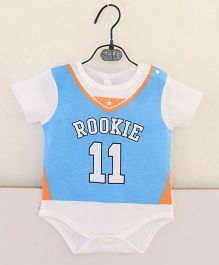 Pre Order - Superfie Rookie 11 Printed Romper - Blue Orange & White