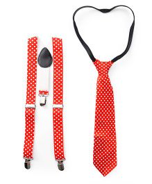Kid-o-nation Printed Suspenders With Tie - Red White