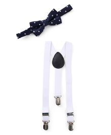 Kid-o-nation Plain Suspenders With Bow Tie - White & Navy Blue