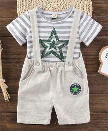 Pre Order - Awabox Star Print Tee & Dungarees - White & Beige