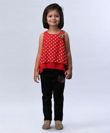 Soul Fairy Polka Dot Printed High Low Top - Red