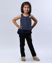 Soul Fairy Polka Dot Printed High Low Top - Navy