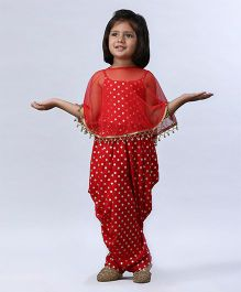 Soul Fairy Polka Dot Printed Jumper With Net Cape - Red