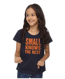 BonOrganik Small Knows Rest Tee For Girls - Navy Blue