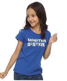 BonOrganik Monster Sister Tee For Girls - Royal Blue