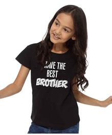 BonOrganik Crew Neck Top For Girls - Black