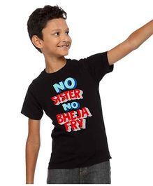 BonOrganik No Bheja Fry Print Tee For Boys - Black