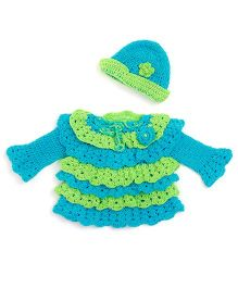 MayRa Knits Knitted Frilled Frock With Cap - Sky Blue & Green