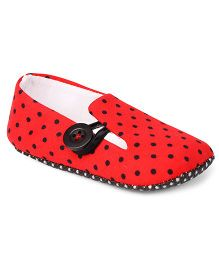Jute Baby Booties Polka Dots - Red & Black