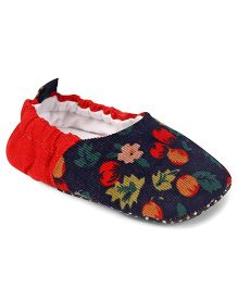 Jute Baby Booties Floral Design - Red