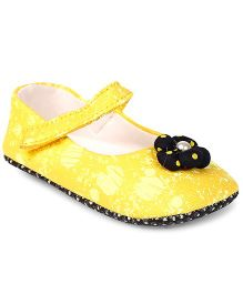 Jute Baby Mary Jane Style Booties Velcro Closure Flower With Pearl - Yellow