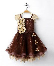 M'Princess Stylish Party Wear Dress - Brown