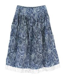 My Li'l Lambs Skirt Printed With Silver Border At Hem - White & Blue