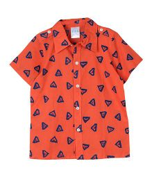 My Li'l Lambs Half Sleeves Printed Shirt - Orange