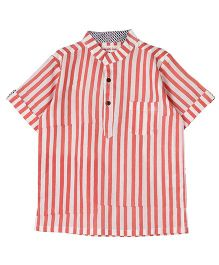 My Li'l Lambs Half Sleeves Stripe Print Shirt - Pink White