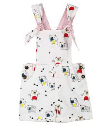 My Li'l Lambs Animal Printed Dungaree - White
