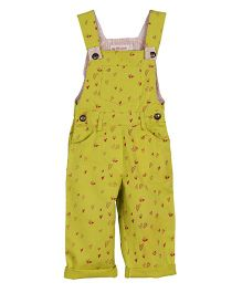 My Li'l Lambs Heart Print Full Length Dungaree - Green