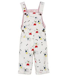 My Li'l Lambs Animal Printed Full Length Dungaree - White