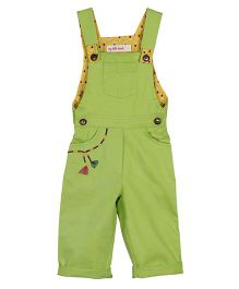 My Li'l Lambs Stylish Dungaree With Embroidered Pocket - Lime Green
