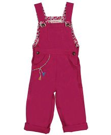 My Li'l Lambs Stylish Dungaree With Embroidered Pocket - Dark Pink