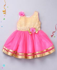 Enfance Sleeveless Dress With Flower Applique - Fuchsia