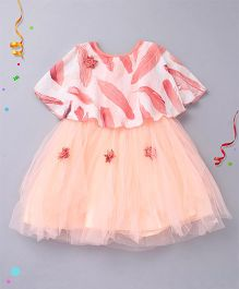 Enfance Cape Style Party Wear Dress - Peach