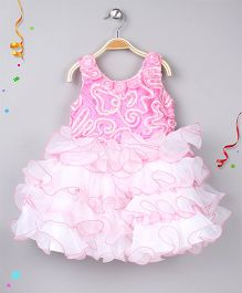Enfance Party Wear Dress With Frills And Flowers - Pink