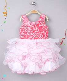 Enfance Party Wear Dress With Frills And Flowers - Tomato