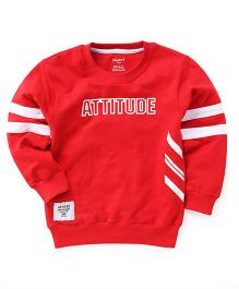 Smarty Full Sleeves Winter Wear T-Shirt Number Attitude Print - Red