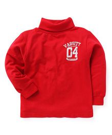 Smarty Full Sleeves Winter Wear T-Shirt Varsity Print - Red