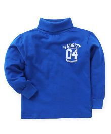 Smarty Full Sleeves Winter Wear T-Shirt Varsity Print - Royal Blue