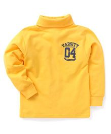 Smarty Full Sleeves Winter Wear T-Shirt Varsity Print - Yellow
