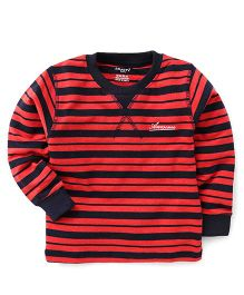 Smarty Full Sleeves Winter Wear Stripes T-Shirt Awesome Print - Coral Navy