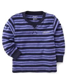 Smarty Full Sleeves Winter Wear Stripes T-Shirt Awesome Print - Purple Navy